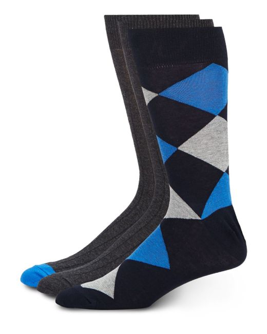 Saks Fifth Avenue   Blue Cotton-blend Socks/3-pack for Men   Lyst