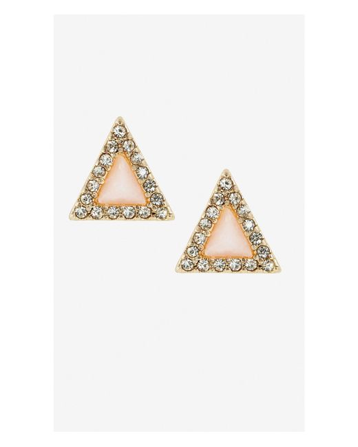 Express | Pink Triangle Pave And Stone Post Earrings | Lyst