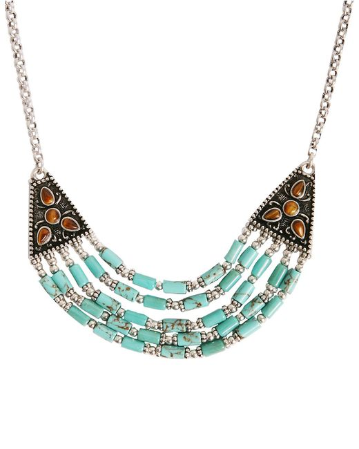 Lucky Brand | Blue Tiger Eye And Turquoise Collar Necklace | Lyst