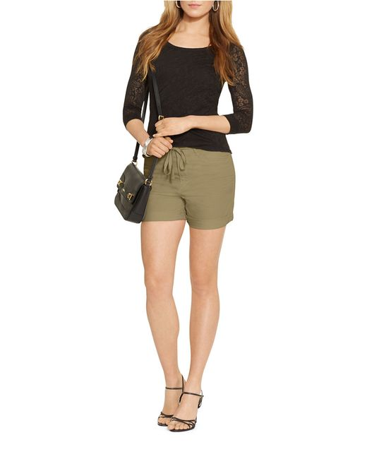 Lauren by Ralph Lauren | Green Petite Drawcord Chino Shorts | Lyst