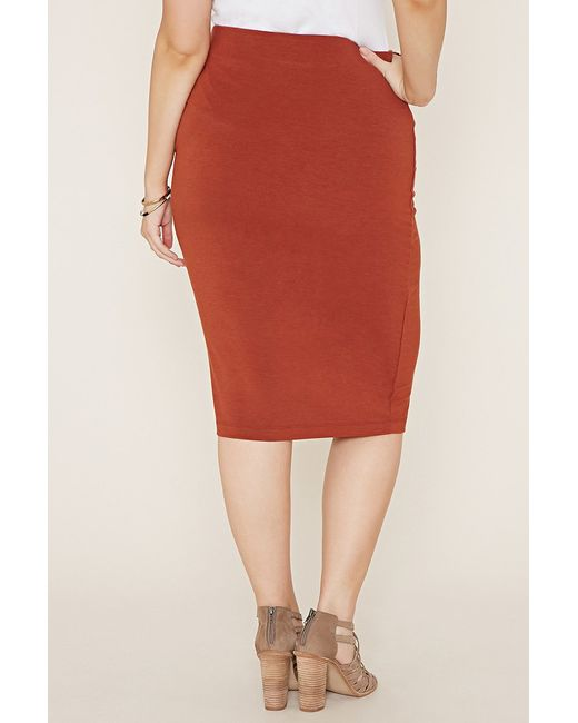 forever 21 plus size knit pencil skirt in brown lyst