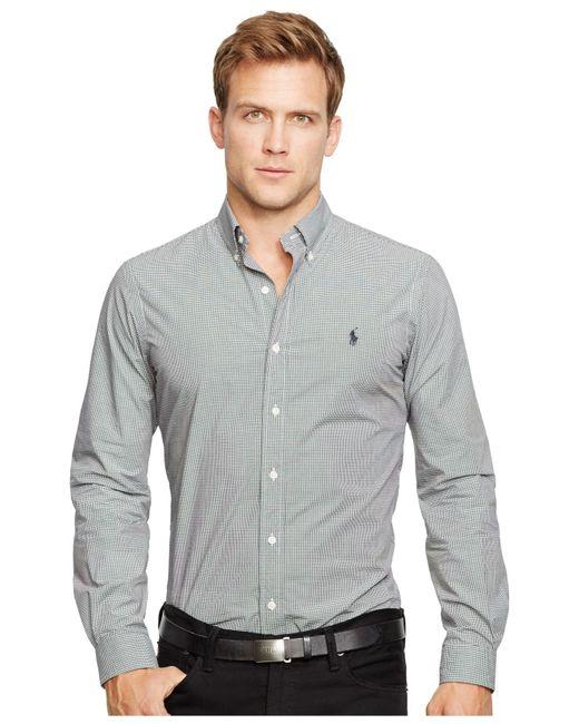 polo ralph lauren slim fit poplin shirt in black for men. Black Bedroom Furniture Sets. Home Design Ideas