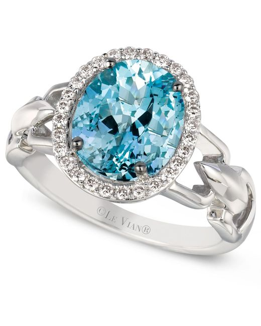 Le Vian | Blue Aquamarine (2 Ct. T.w.) And Diamond (1/6 Ct. T.w.) Oval Ring In 14k White Gold | Lyst