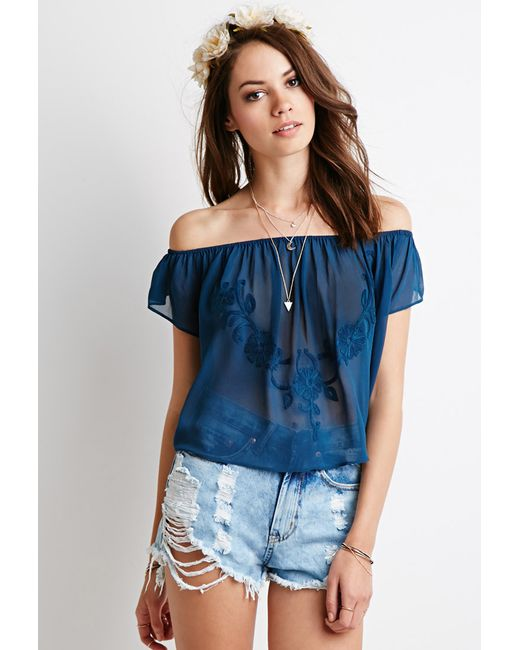 Forever 21 | Blue Embroidered Chiffon Off-the-shoulder Top | Lyst