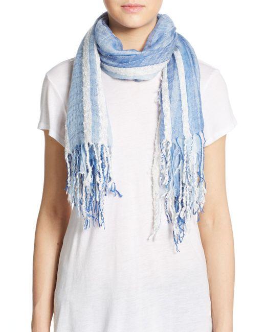 saks fifth avenue black label textured stripe scarf in