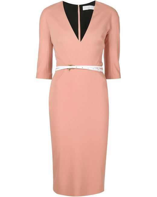 Victoria Beckham | Pink Elbow Sleeve Belted Dress | Lyst