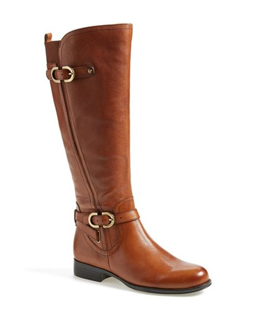 naturalizer knee high boot in brown cognac