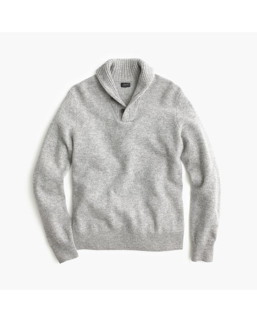 J.Crew | Gray Lambswool Shawl-collar Sweater for Men | Lyst