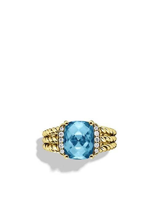 David Yurman   Petite Wheaton Ring With Hampton Blue Topaz And Diamonds In 18k Gold   Lyst