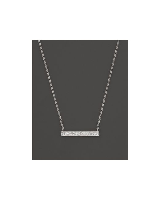Dana Rebecca | 14k White Gold Sylvie Rose Mini Bar Necklace With Diamonds | Lyst