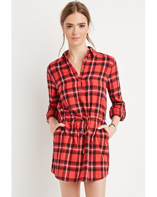 Forever 21 Plaid Flannel Shirt Dress In Red Red Black