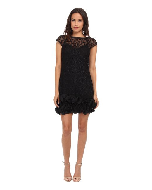 Jessica Simpson | Black Short Tiered Sleeve Dress With Ruffle At Hem | Lyst