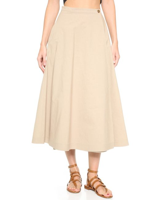 tome combed cotton a line skirt in beige save 60 lyst