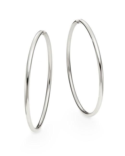 "Saks Fifth Avenue   Metallic Sterling Silver Hoop Earrings/2.75""   Lyst"