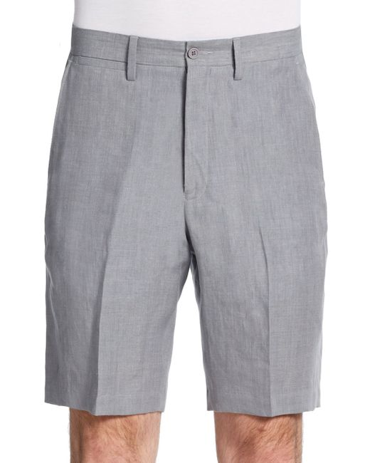 Saks Fifth Avenue Black Label | Gray Winn Chambray Linen Shorts for Men | Lyst