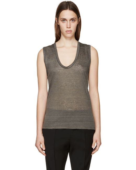 Isabel marant grey linen t shirt in gray grey lyst for Isabel marant t shirt sale