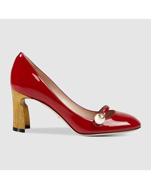 6254e602196 Gucci Mid-heel Patent Pump in Red (red patent leather)