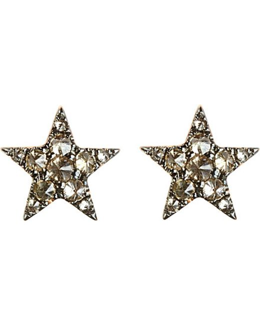 Annoushka | Brown Love Diamonds 18ct Rose-gold And Diamond Star Earrings | Lyst