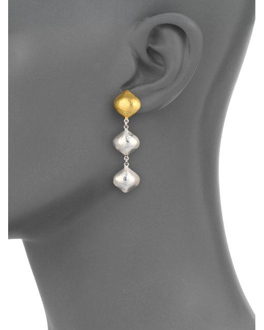 Gurhan   Metallic Clove 24k Yellow Gold & Sterling Silver Cielo Triple-drop Earrings   Lyst