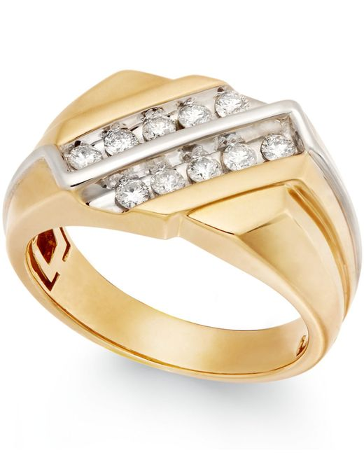 Macy's | Metallic Men's Diamond Two-row Ring In 10k Gold (1/2 Ct. T.w.) for Men | Lyst