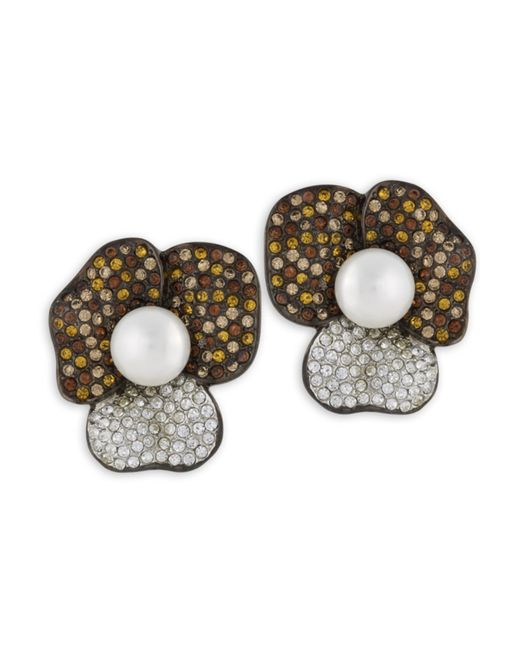 Kenneth Jay Lane | Metallic Topaz Flower Clip Earring | Lyst