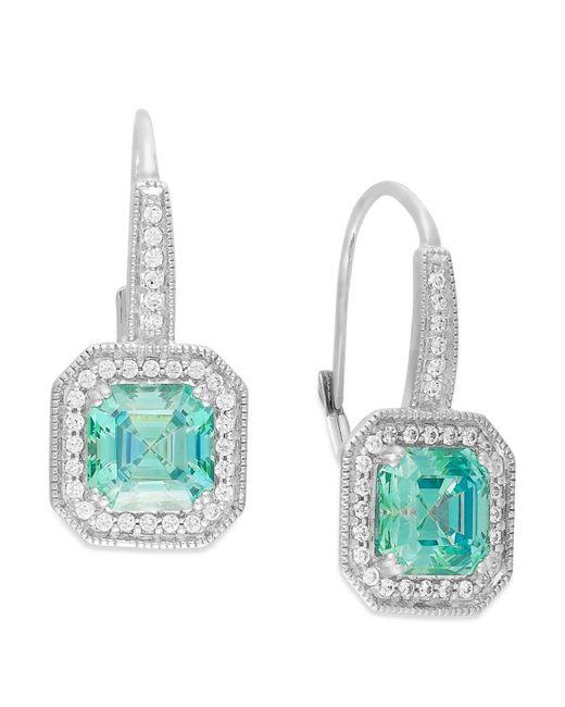 Arabella   Green Mint (6-5/8 Ct. T.w.) And White (1/2 Ct. T.w.) Swarovski Zirconia Drop Earrings In Sterling Silver   Lyst