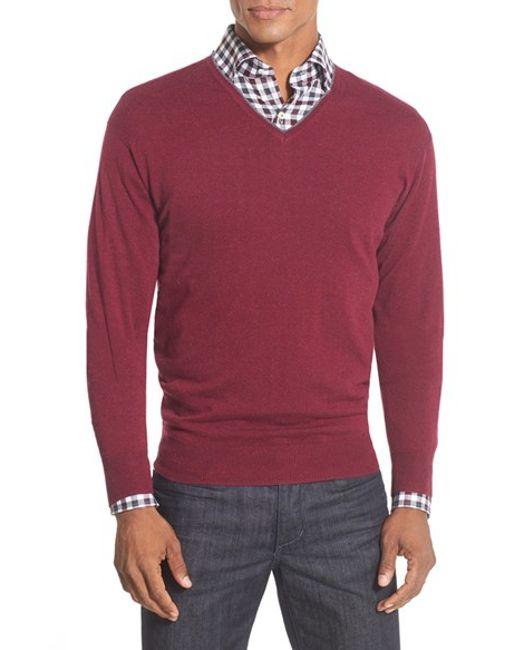 Peter Millar | Purple Tipped Cashmere Blend V-neck Sweater for Men | Lyst