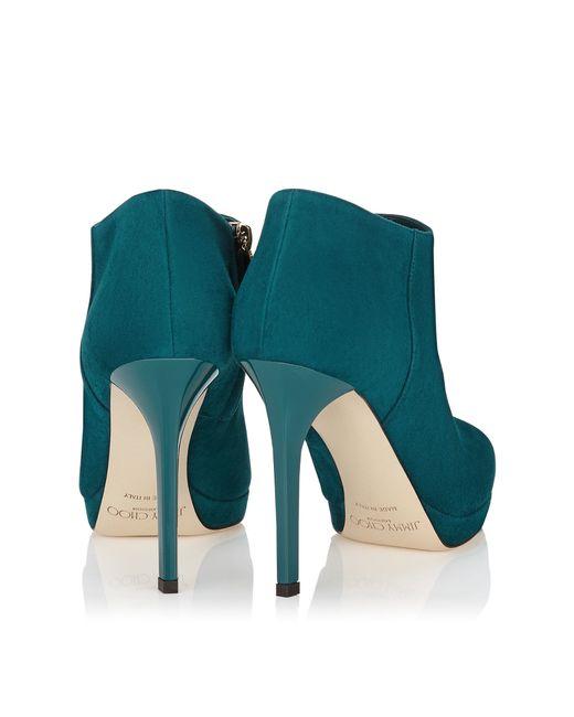 Jimmy Choo   Blue Lindsey 100 Teal Suede Platform Shoe Booties   Lyst
