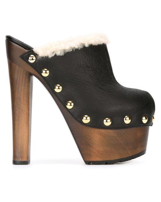 giuseppe zanotti wooden heel mules in black save 60 lyst. Black Bedroom Furniture Sets. Home Design Ideas