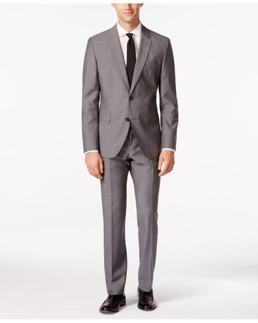 hugo boss grey hugo by mens medium grey mini grid slim fit suit gray. Black Bedroom Furniture Sets. Home Design Ideas