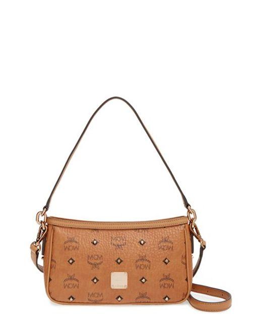MCM | Brown 'gold Visetos' Shoulder Bag | Lyst