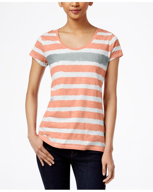 Style & Co. | Metallic Striped Tee, Only At Macy's | Lyst