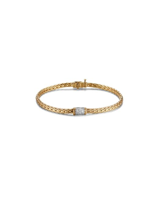 John Hardy | Metallic Classic Chain 18k Yellow Gold And Diamond Pave Mini Bracelet | Lyst