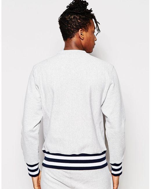 Champion Sweatshirt With Logo And Ribbed Hem In Gray (Grey