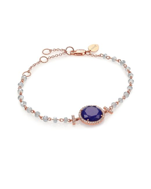 Meira T | Pink Sodalite, Blue Topaz, Diamond & 14k Rose Gold Beaded Bracelet | Lyst