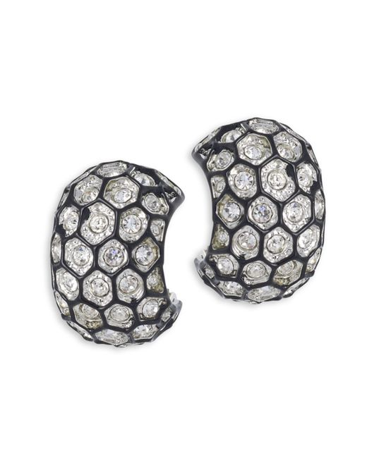 Kenneth Jay Lane | Metallic Honeycomb Clip Earring | Lyst