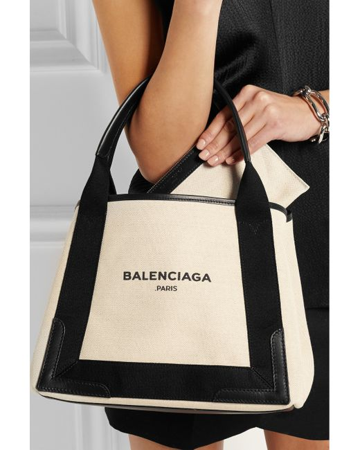 Balenciaga Cabas S Leather Trimmed Cotton Canvas Tote In