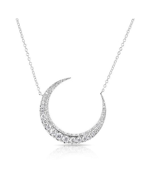 Anne Sisteron - Metallic 14kt White Gold Luxe Diamond Lunar Necklace - Lyst
