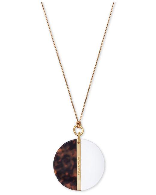 Michael Kors | Metallic Gold-Tone Logo Plate Disc Pendant | Lyst