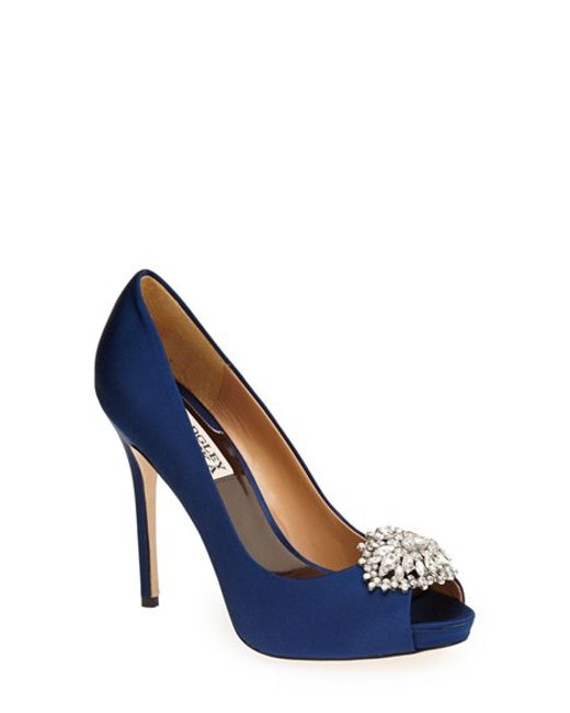 Badgley Mischka | Blue 'jeannie' Crystal Trim Open Toe Pump | Lyst