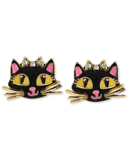 Betsey Johnson | Metallic Antique Gold-tone Cat Stud Earrings | Lyst