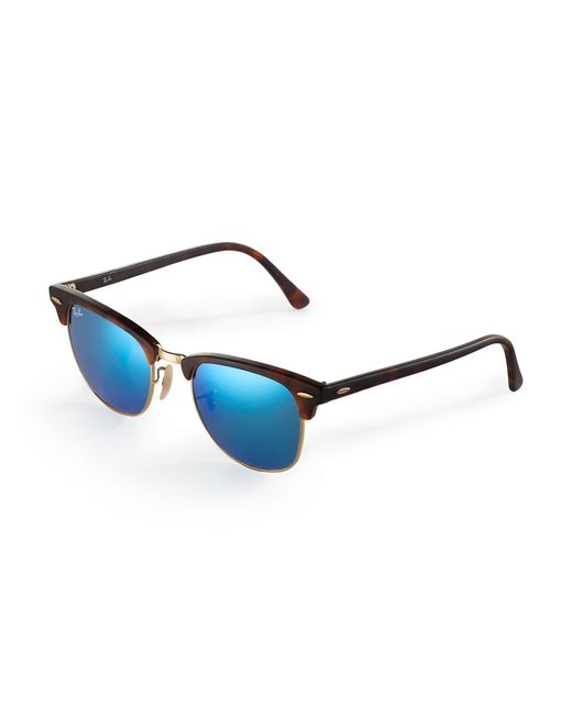 Ray-Ban | Black Clubmaster Mirrored Lens Sunglasses for Men | Lyst