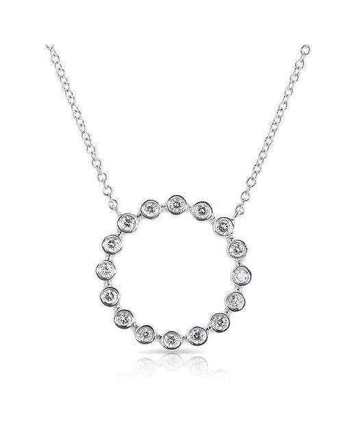 Anne Sisteron - Metallic 14kt White Gold Open Circle Bezel Set Diamond Necklace - Lyst