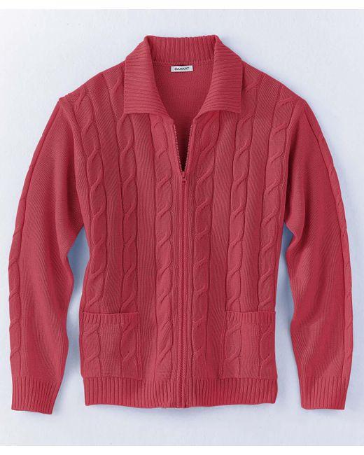 DAMART - Red Zipped Cardigan for Men - Lyst