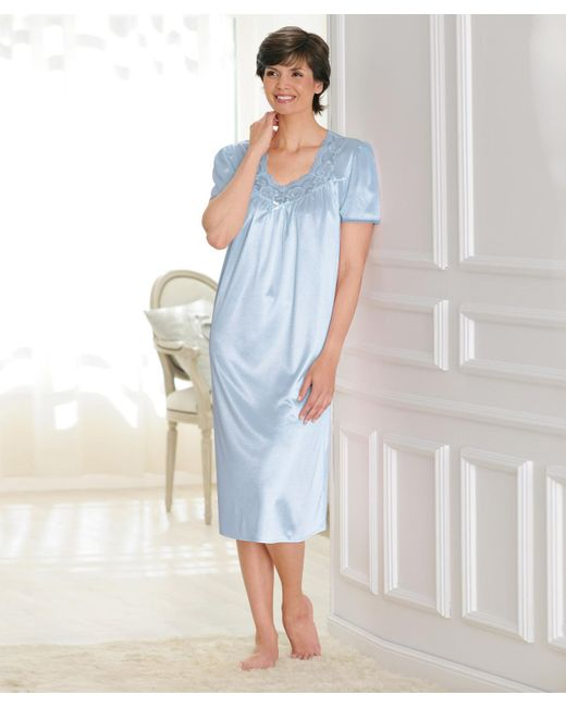 DAMART - Blue Satin Short Sleeved Nightdress - Lyst