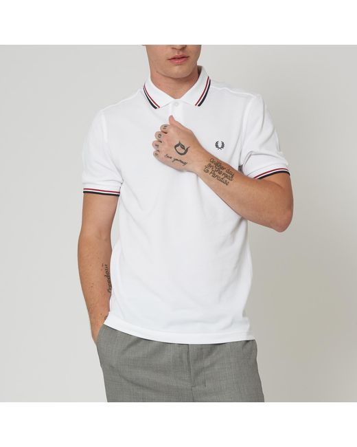 70ac8331e ... Fred Perry Authentic - White M3600 Twin Tipped Polo Shirt for Men -  Lyst ...