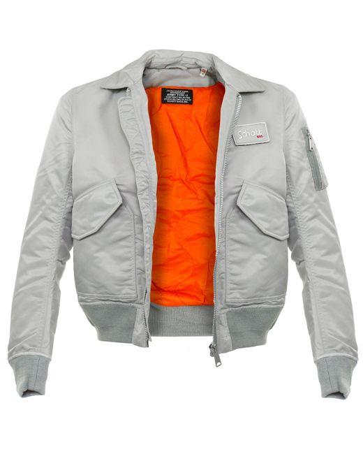 schott nyc schott cwu r silver bomber flight jacket in metallic for men save 18 lyst. Black Bedroom Furniture Sets. Home Design Ideas