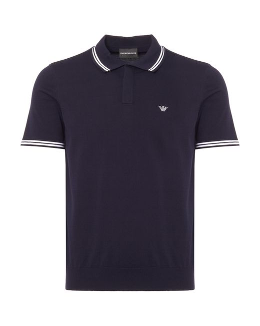 Emporio Armani - Blue Short Sleeve Sweater for Men - Lyst