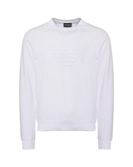 Emporio Armani - White Logo Sweatshirt for Men - Lyst