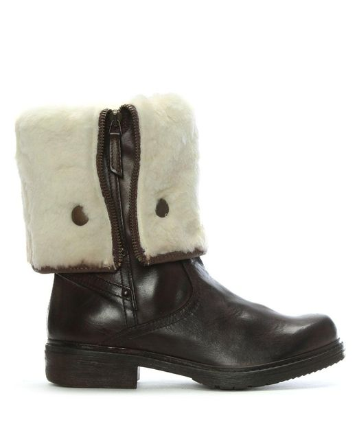 Shoon - Brown Leather Cuffed Calf Boots - Lyst